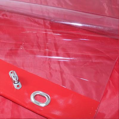 PVC klar mit farbigem Saum und Ovalösen alle 1m, inkl. Drehwirbel