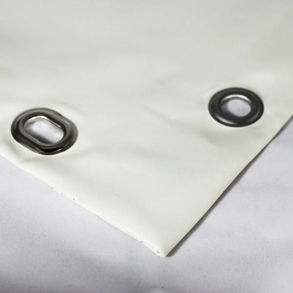 PVC matt mit Saum und Ovalösen alle 100cm, cremeweiß