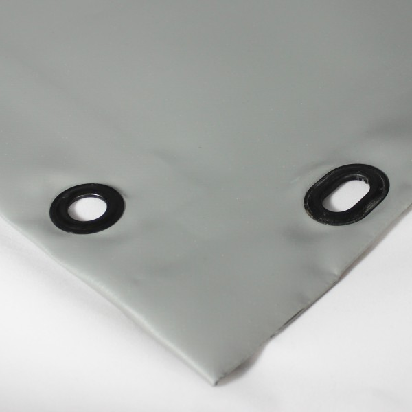 PVC matt mit Saum und Ösen alle 100cm, dunkelgrau