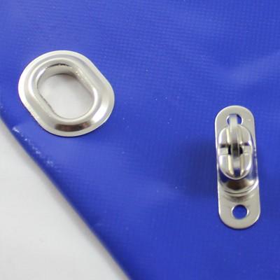 mit Saum und Ovalösen alle 1m, blau, inkl. Drehwirbel