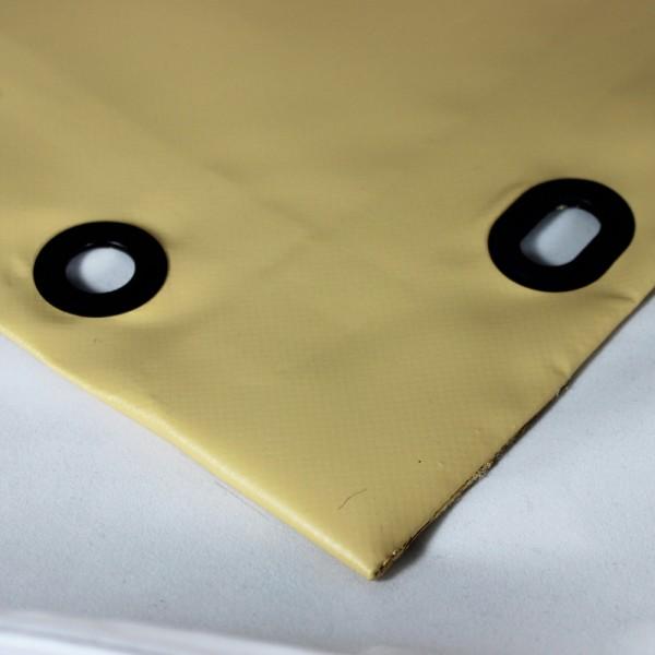 PVC matt mit Saum und Ovalösen alle 50cm, beige dunkel