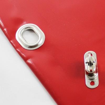mit Saum und Ovalösen alle 50cm, rot, inkl. Drehwirbel