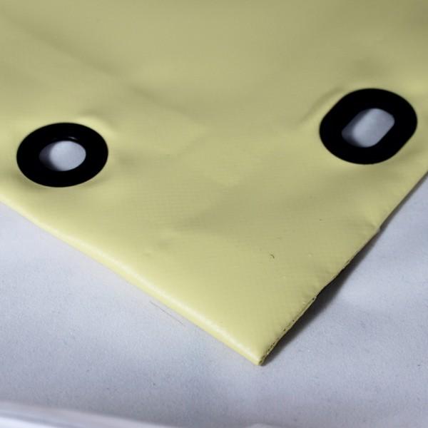 PVC matt mit Saum und Ovalösen alle 100cm, beige