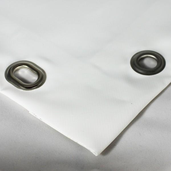 PVC matt mit Saum und Ovalösen alle 50cm, weiß