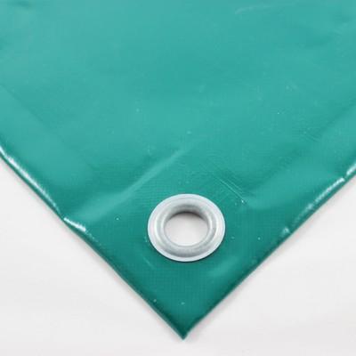 PVC Plane grün RAL6026, ca. 680g/m² mit Saum und Ösen alle 50cm