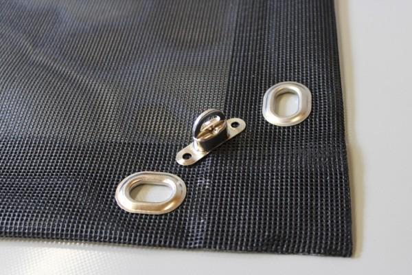 PVC Netz mit Saum und Ovalösen alle 50cm, schwarz, inkl. Drehwirbel
