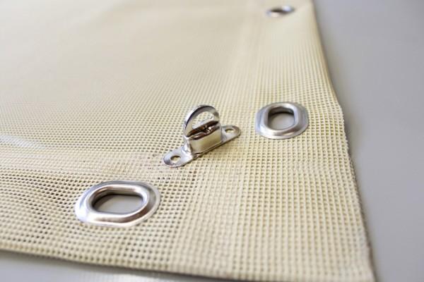 PVC Netz mit Saum und Ovalösen alle 50cm, beige, inkl. Drehwirbel
