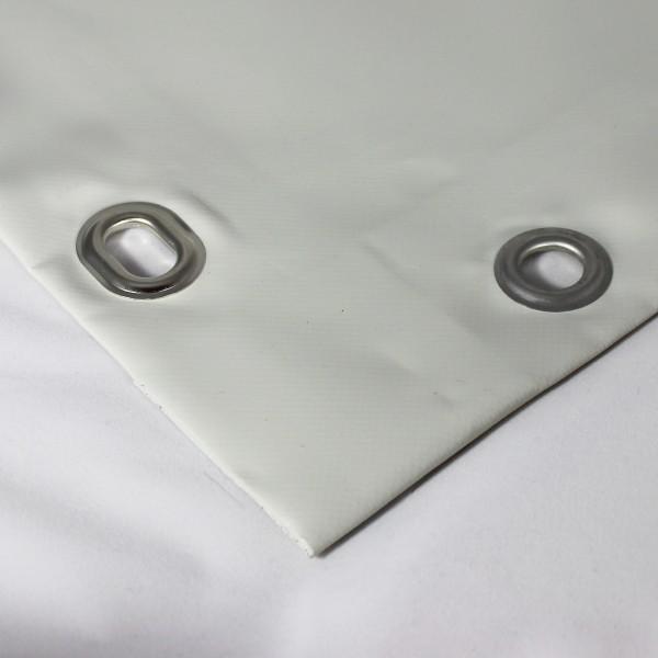 PVC matt mit Saum und Ovalösen alle 50cm, hellgrau