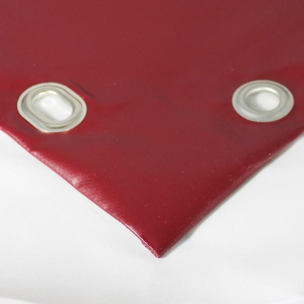 PVC matt mit Saum und Ovalösen alle 50cm, purpurrot