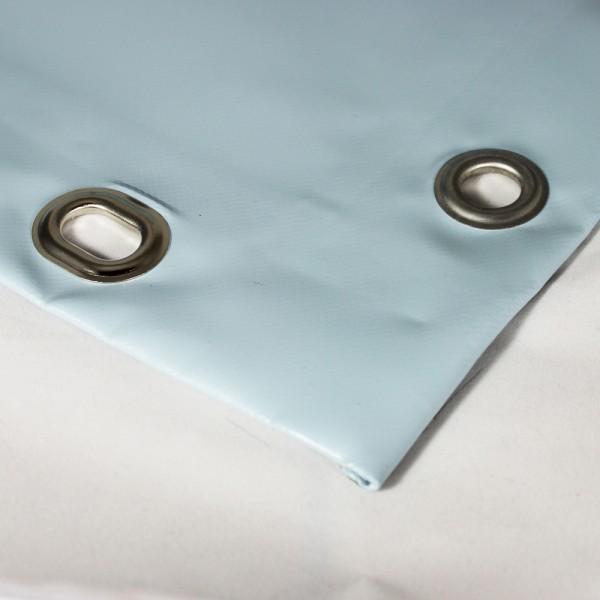 PVC matt mit Saum und Ösen alle 100cm, taubenblau